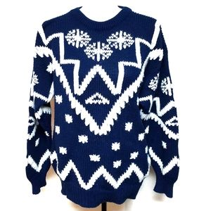 Vintage Snowflake Aztec White Blue Knit Sweater